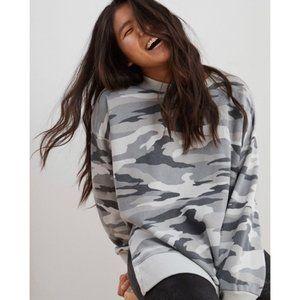 NWT Aerie Oversize Camo Glacier Gray Sweatshirt XS